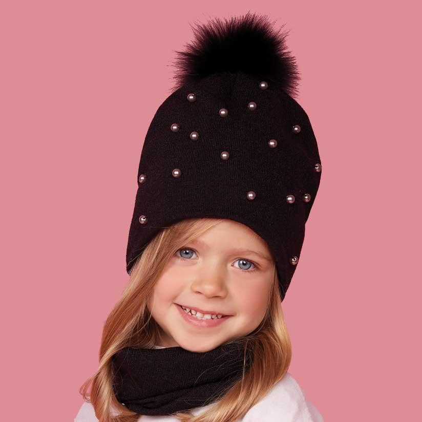 0ffd1ce499b Детский зимний комплект (шапка + шарф-хомут) для девочки